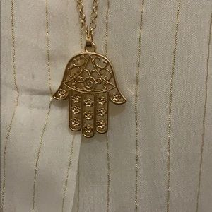 "NWOT Gold Plated Hamsa 34"" Chain necklace."